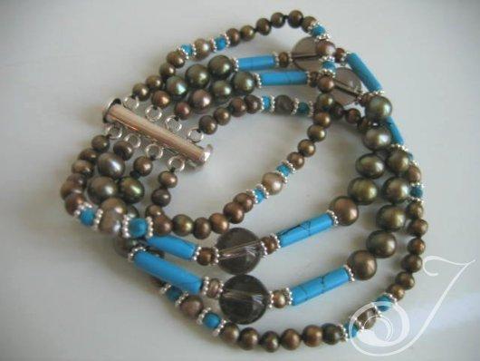 King Tut Turquoise Pearl Cuff Bracelet