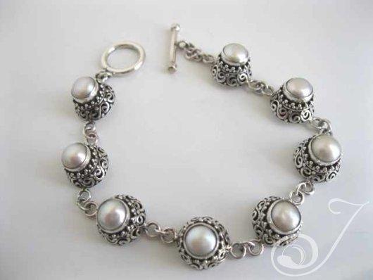 Pearly Lace Sterling Bracelet