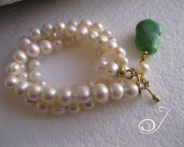 Green Turquoise and Pearl Bracelet
